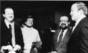 Co-captains Jim Petrucci and Anthony DiTomasso, along with former captain Kevin Guthrie, helped to decide the new Head Coach for their 1985 season, Ron Rogerson.